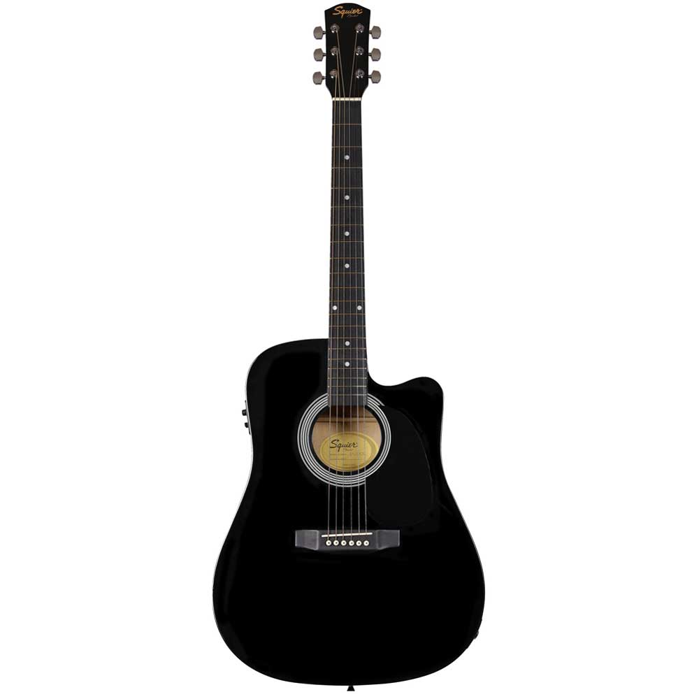 FENDER Squier SA-105CE, Dreadnought Cutaway, Stained Hardwood Fingerboard, Black ელ.აკუსტიკური გიტარა