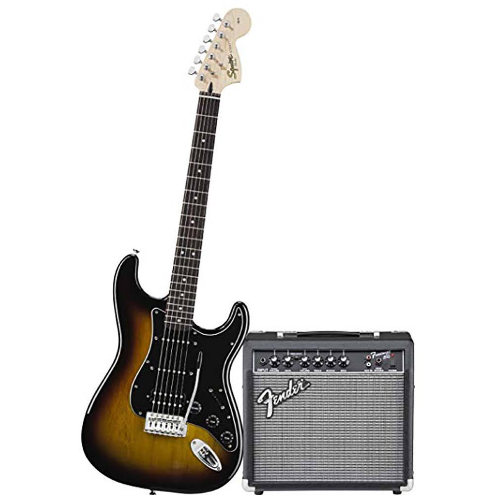 FENDER SQUIER Affinity Series™ Stratocaster® HSS Pack, Laurel Fingerboard, Brown Sunburst ელექტრო გიტარის კომპლექტი