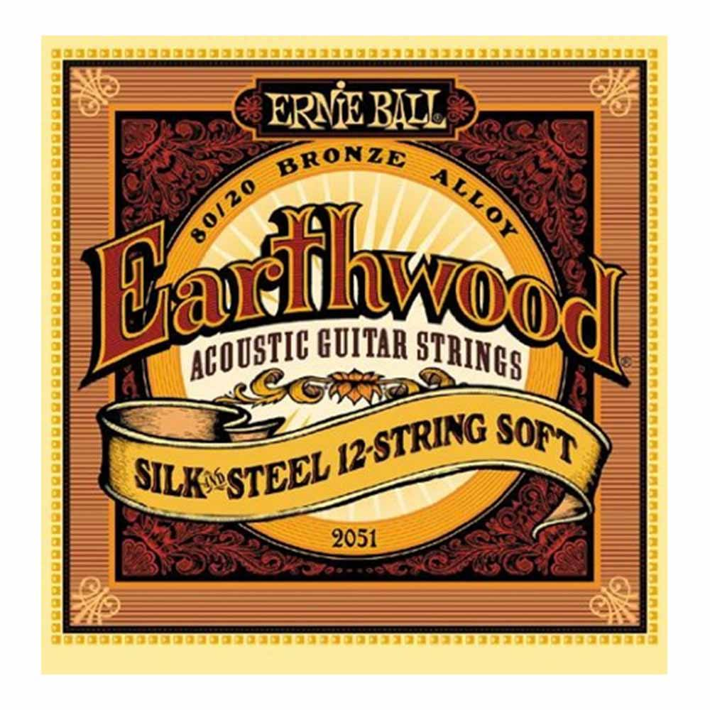 Ernie Ball Earthwood Silk & Steel Soft 12-String 80/20 Bronze Acoustic Guitar Strings აკუსტიკური გიტარის სიმები