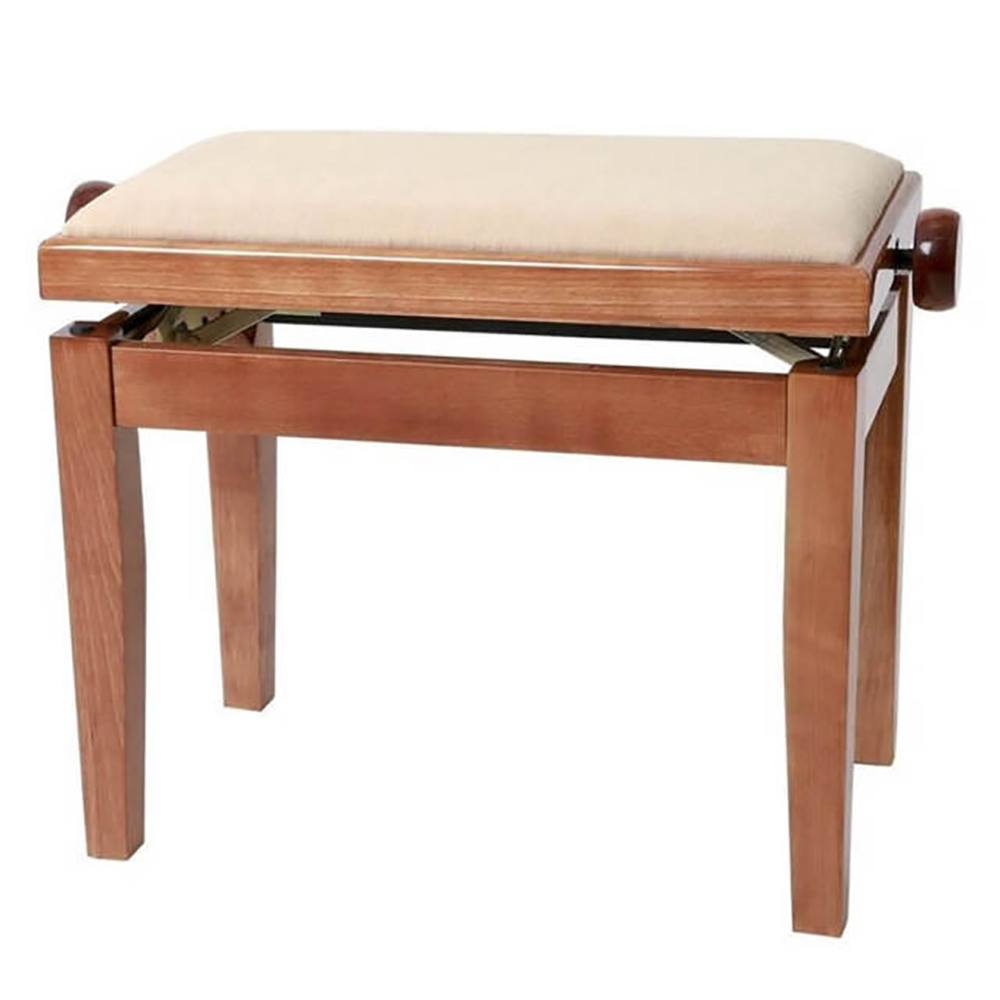 GEWA PIANO BENCH CHERRY  HIGHGLOSS COVER BEIGE პიანინოს სკამი
