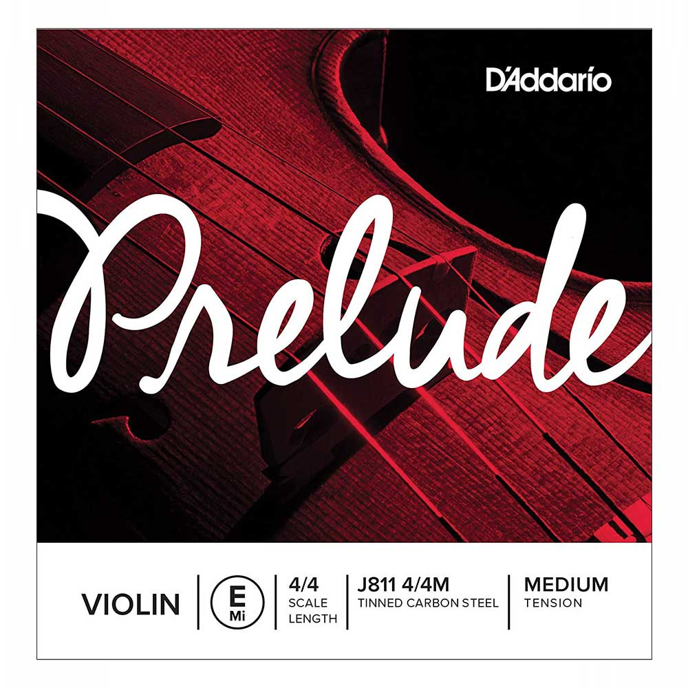 D'Addario Prelude Violin Single E String, 4/4 Scale, Medium Tension ვიოლინოს სიმი