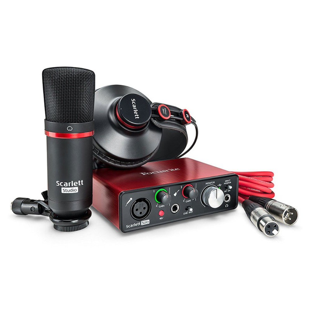 FOCUSRITE Scarlett Solo Studio 2gen Pack Compact Scarlett Interface with Mic + Headphones + software აუდიო ინტერფეისის კომპლექტი
